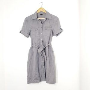 Mosaic | Gray Utility Shirt Dress Cotton Midi 2
